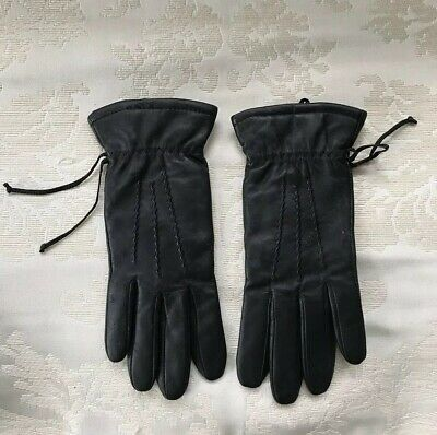 Thinsulate Insulation 40 Gram Black Leather Womens Gloves Mittens Size Small