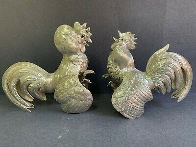 Collectible Realistic Pair Spanish Sterling Silver 925 Fighting Cocks/ Roosters