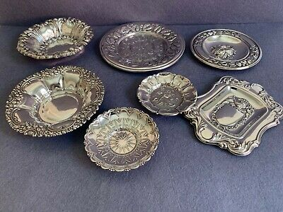 Seven Superb  Marked Spanish Sterling Silver 925 Small Centerpieces, Trays, Dish