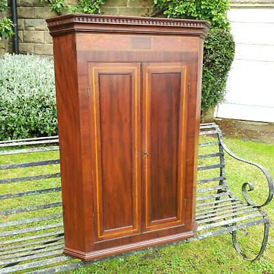 George III Mahogany Ebony & Satinwood Inlaid Corner Cabinet C1800 (Georgian)