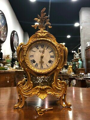 Magnificent Antique Art Nouveau French Brass Table Clock From 1900-1930
