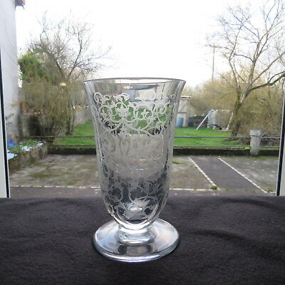 Vase Crystal Engraved - Baccarat Model Erna Signed 2/2