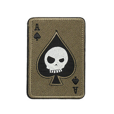 Ace Of Spades Death Skull Card Army Tactical Morale Calico Hook Loop Patch G USA