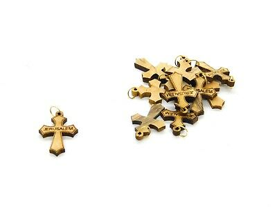 50 Pcs Olive Wood Cross Pendants Charms Laser Cut Hand Made Holy Land Jerusalem