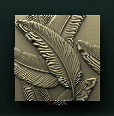 3d STL Model Relief for CNC Router _ Feathers _0067