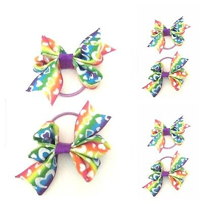 Handmade Baby Girls Multi Hearts Tiny Hair Bow Bobbles Sold In Pairs