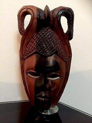 Vintage Hand Carved Wood Art Face Mask Wall Hanging Thailand / Asian