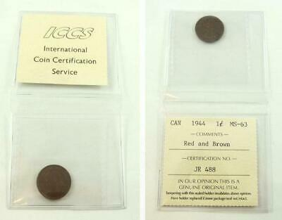 ICCS 1944 Canada 1 Cent Coin - Red & Brown