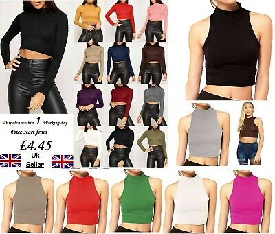 Ladies Womens Long Sleeve Polo Turtle Sleeveless Roll Neck Crop Top Jumper