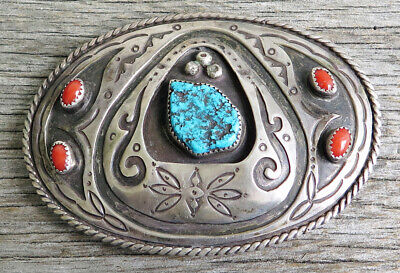 Old Pawn Sterling Silver Turquoise Coral Shadow Box Signed Handmade Belt Buckle