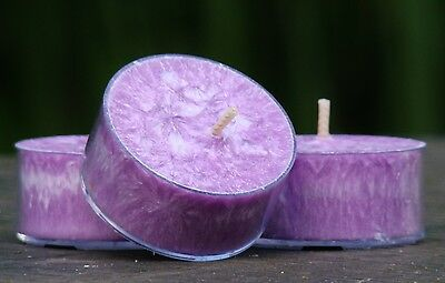 10pk LAVENDER & HEMP LEAF Herbal Scented NATURAL Eco TEA LIGHT CANDLES 60 hr/pk