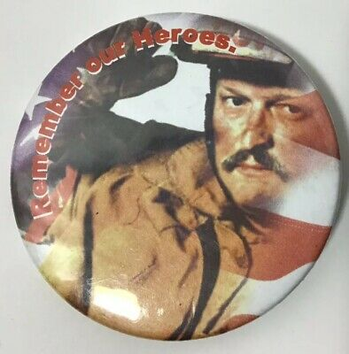 """Remember Our Heroes 9-11 Pinback Button Firefighter Flag September 11 2001 2.25"""""""