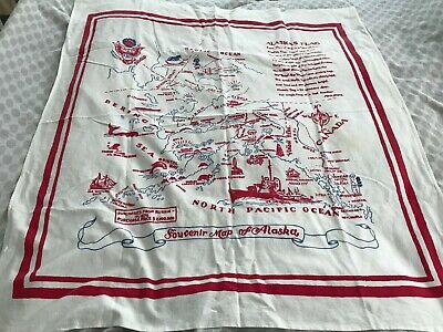 Vintage 1940's 1950's ALASKA Souvenir Map Cotton Tablecloth
