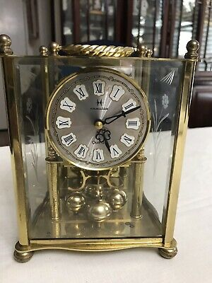 Vintage HAMILTON Mantel Clock, Carriage Style with Rotating Pendulum German Made