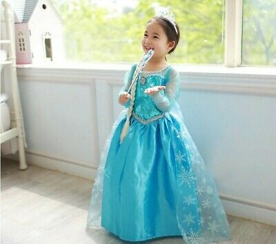 Kids & Girls Princess Queen Elsa Costume Party Birthday Dress with Cape 1-10 Yrs