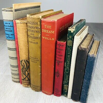 Lot of 10 Cool Vintage Old Antique Books Retro Decor Mixed Genres Early 1900s