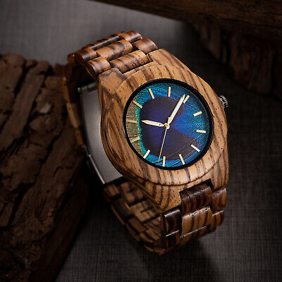 MUJUZE Men's Zebra Wood Watch 3D Printed Peacock Feather Dial Wooden Watch