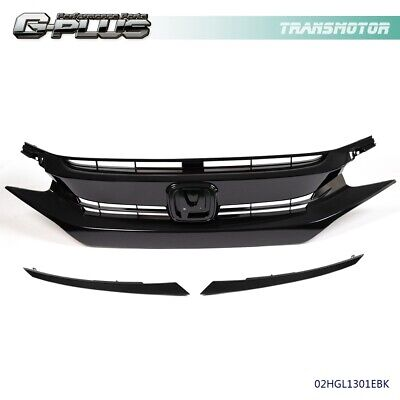 Factory Style Glossy Black Mesh Front Hood Grille For 2016-2018 HONDA CIVIC 10TH