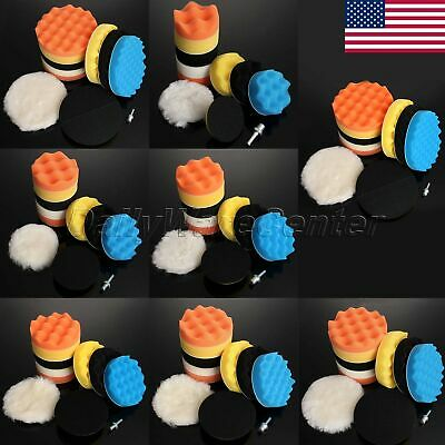 "US 9PC 3""/4""/5""/6""/7"" Sponge Foam Wool Polish Cleaning Buffing Waxing Pads Set"