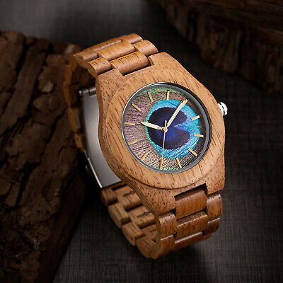 MUJUZE Mango Wooden Watch 3D Printed Peacock Feather Dial Natural Wooden Watch