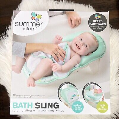 Summer Infant Mint Green Bath Sling With Warming Wings Baby Head Support