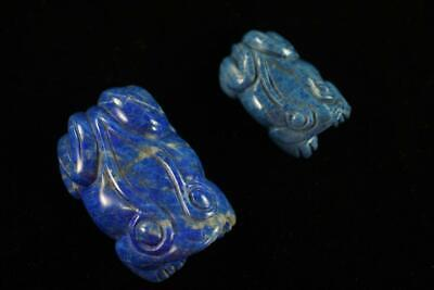 VINTAGE CHINESE HAND CARVED LAPIS LAZULI pair of FROGS FIGURE
