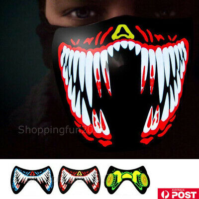 2019 Halloween Scary Mask Cosplay LED Costume Mask Wire Light Up