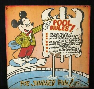 VINTAGE 1950's HAND PAINTED MICKEY MOUSE POOL RULES METAL SIGN
