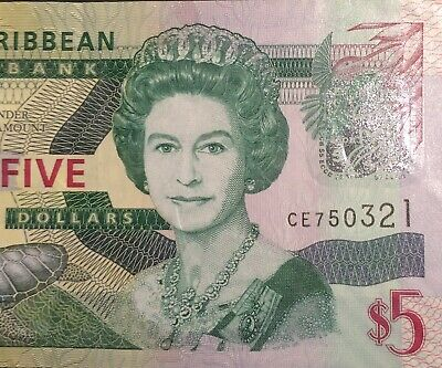 1988-93 East Caribbean States 5 Dollars Note -