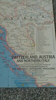 vintage map of SWITZERLAND, AUSTRIA AND NORTHERN ITALY 1965