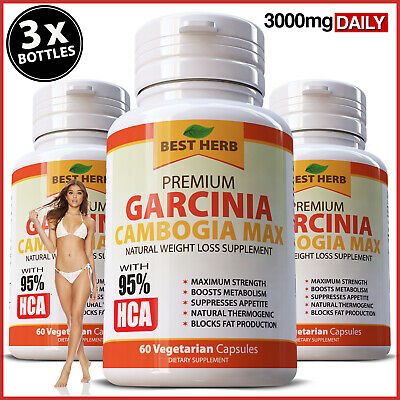 180 Capsules 3 x BOTTLES GARCINIA CAMBOGIA Weight Loss 3000mg Daily HCA 95% Diet