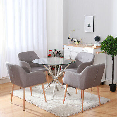 Linen Fabric Button Accent Tub Dining Chairs Wooden Style Metal Legs Dining Room