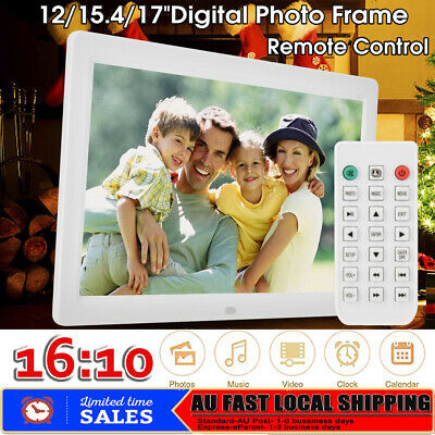 "12/15.4/17"" 16:10 Digital Photo Picture Frame Video Player Remote Alarm Clock AU"
