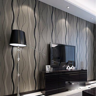 Modern Non Woven Grey Wave Striped Wallpaper For Living Room