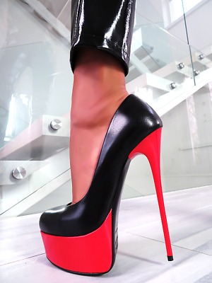 1969 Designer Italian Real Leather Ultra High Stiletto Heels Black Red Size 39