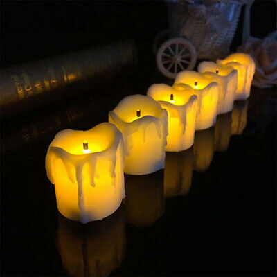 12/24Pcs Flameless Votive Candles Battery Operated LED Tea Light Wedding Party