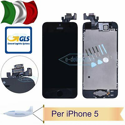 DISPLAY Per iPhone 5 5G LCD ASSEMBLATO Fotocamera Tasto Home Altoparlant Nero