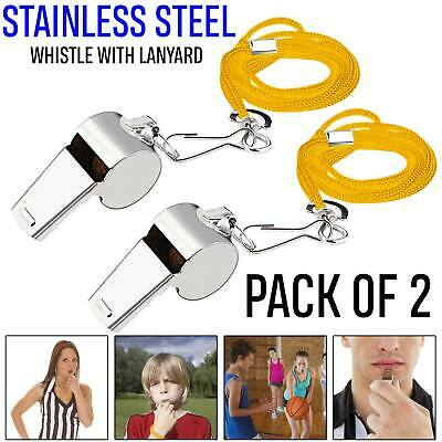 2 X Metal Referee Whistle With Key Ring Sports School Football Rugby Outdoor Uk