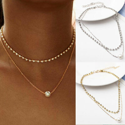 2019 Multilayer Chain Choker Necklace Women Crystal Pearl Pendant Charm Jewelry