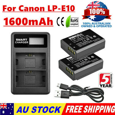2X 1600mAh LP-E10 Battery / LCD Charger For Canon EOS 1500D 1300D 1100D Kiss X50