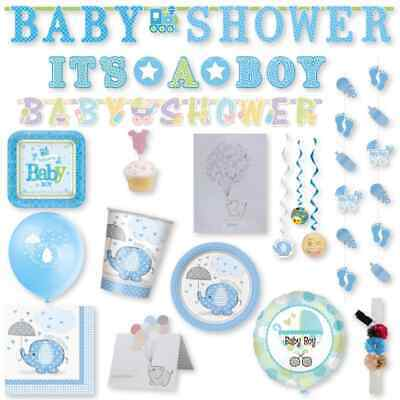 Fiesta Baby Shower Decoracion Tematica Welcome Niño Azul
