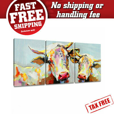 Colorful Cow Painting On Canvas Wall Art Decoration Modern Artwork Stretched & F