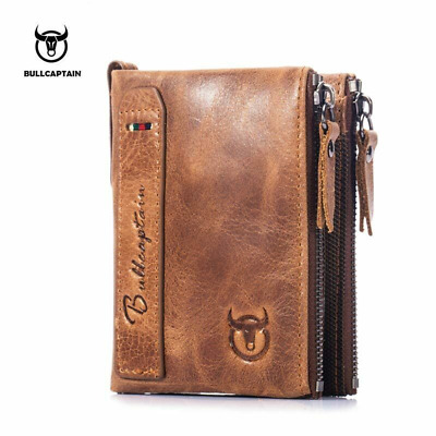 Genuine Leather Vintage Men's Wallets Cowhide Wallet Hasp Card Holder Coin Purse
