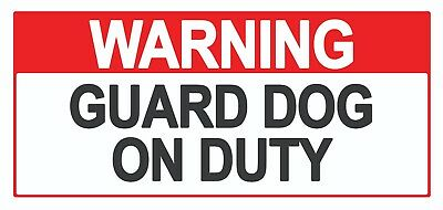 2 x - Warning Guard Dog - Sign Self Adhesive Removable Waterproof Vinyl Stickers