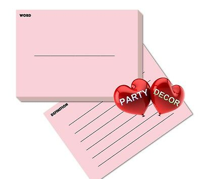 A7 Pink Revision Flash Cards Word and Definition Pack of 100 pieces