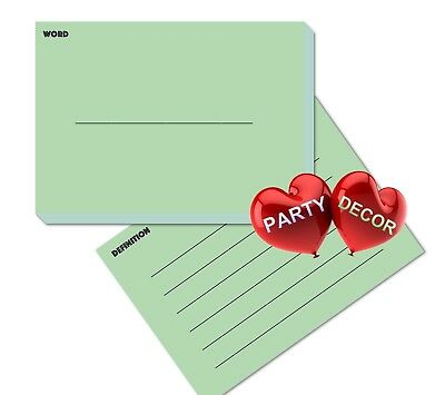 A6 Green Revision Flash Cards Word and Definition Pack of 100 pieces