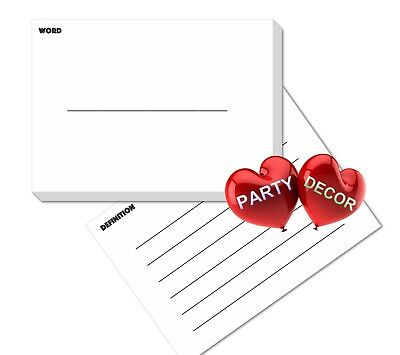 A5 White Revision Flash Cards Word and Definition Pack of 200 pieces