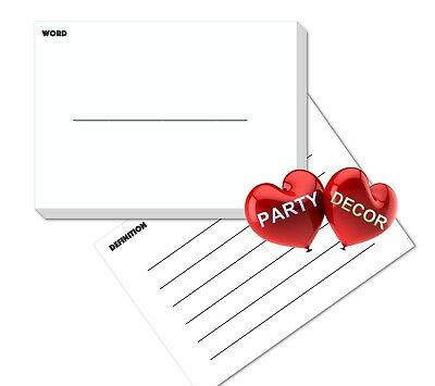 A5 White Revision Flash Cards Word and Definition Pack of 100 pieces