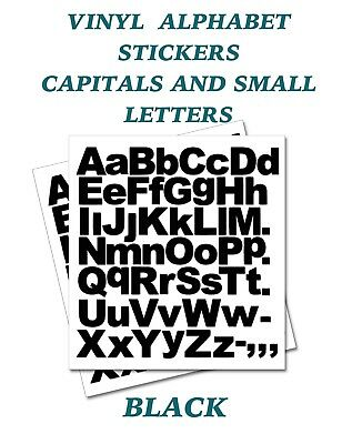 2 x  Set of A-Z Black Capital & Small Letters  Vinyl Stickers size 50mm