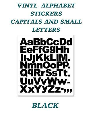 1 x  Set of A-Z Black Capital & Small Letters  Vinyl Stickers size 50mm